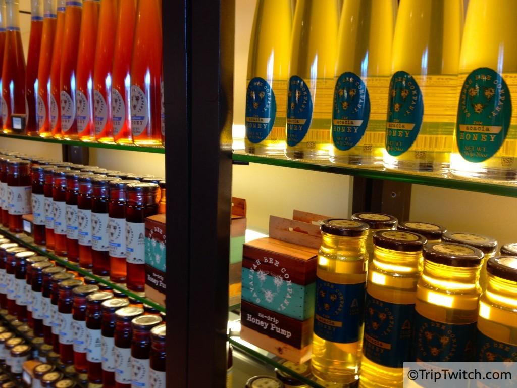 Rows of honey at  Savannah Bee Company